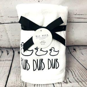 Rae Dunn Rub Dub Dub Rubber Duckie Hand Towels x 2